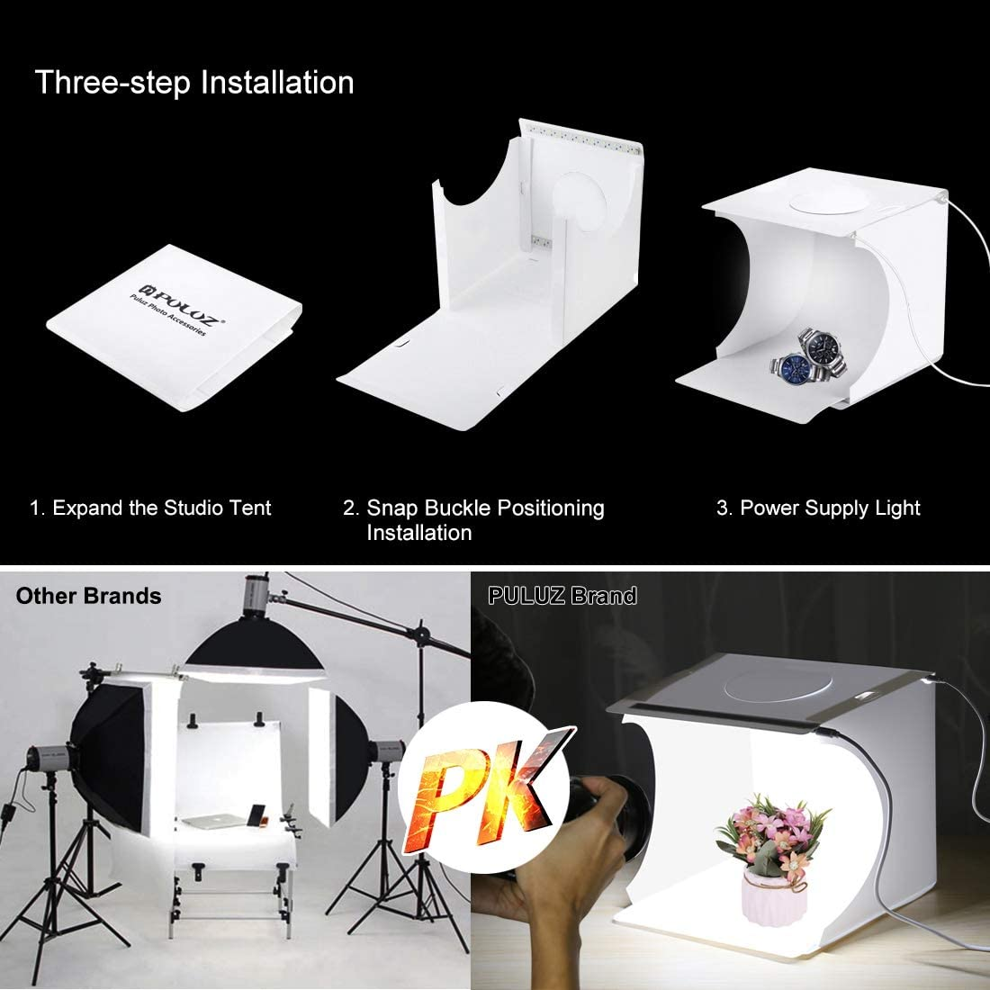 Adjustable Portable Photography Shooting Light Tent Kit with White//Warm//Soft Lighting 6 Backdrops for Jewellery and Small Items PULUZ 20cm Ring Light Photo Studio Light Box
