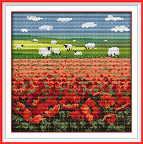 """Good Value Cross Stitch Kits Beginners Kids Advanced - Poppy And Sheep 11 CT 17""""X17"""", DIY Handmade Needlework Set Cross-Stitching Accurate Stamped Patterns Embroidery Home Decoration Frameless"""