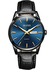 OLEVS Men's Watch - Ultra Thin Fashionable Minimalist - Stainless Steel Bezel Buckle - Breathable Leather Strap - Casual Analog Watch with Quartz Movement - Waterproof Wrist Watches