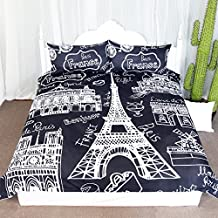 Kingtex Paris Eiffel Tower Collage Scene Duvet Cover Set 3 Pieces Chic Black and White French Style Bedspread Bedding Set (Twin)