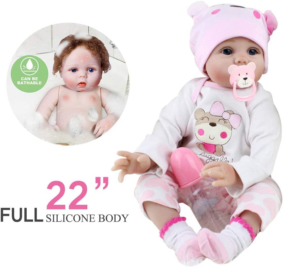 "22/"" Girl Realistic Doll Handmade Body Silicone Reborn Baby Soft Newborn Toy"