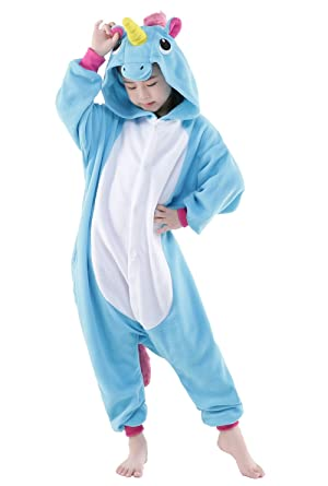 NEWCOSPLAY Childrens Kigurumi Pajamas Animal Onesies Cosplay Homewear Sleeping Wear (#125, blue unicorn