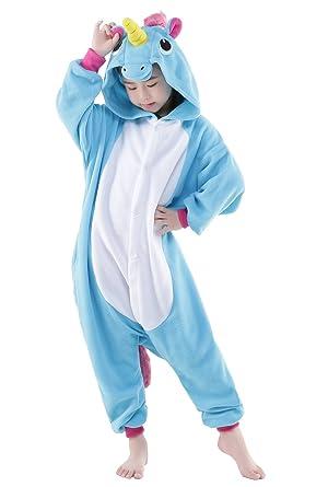 NEWCOSPLAY Childrens Kigurumi Pajamas Animal Onesies Cosplay Homewear Sleeping Wear (#125, blue unicorn