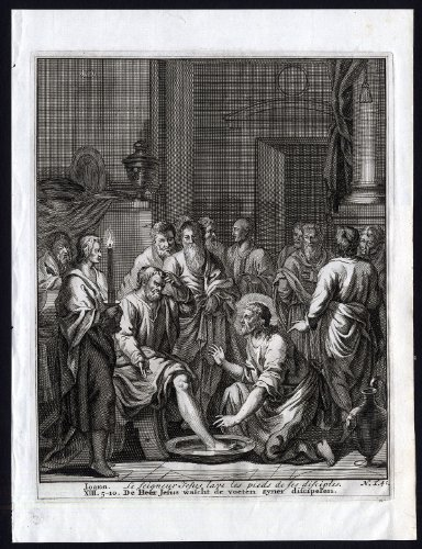 Antique Bible Print-N.T.41-JESUS-FEET-DISCIPLE-JOHN-LORD-WASH-Halma-Scheits-1710]()