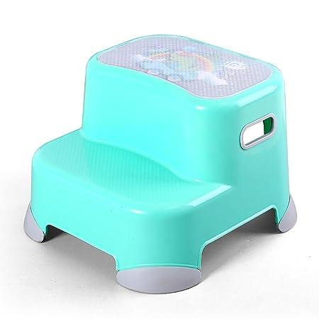 DS taburete Bebé 2 Taburete Escalera Infantil baño Taburete plástico pequeño niño baño Entrenamiento hogar niños Taburete Antideslizante ** (Color : Azul): Amazon.es: Hogar
