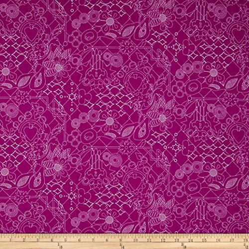 Andover Alison Glass Sun Prints Overgrown Plum Purple Fabric by The Yard