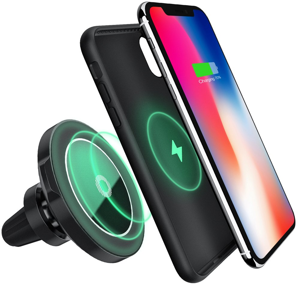 Maxjoy Wireless Car Charger iPhone X Magnetic Case Set,3- in-1 Air Vent Mount Magnetic Car Charger, 360 Degree Rotation Strong Magnetic Mount Holder with Phone Receiver Case for iPhone X, Gray Case by Maxjoy
