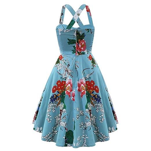 Bahoto Vestido Retro Vestido De Mujer 50S Talla Grande Flor Grande ...