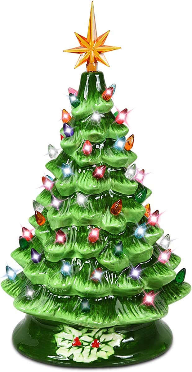 Goplus Pre-Lit Hand-Painted Ceramic Christmas Tree, 15in Tabletop Xmas Decor, with 66 Multicolored Lights and Top Star, Forever Lighted Holiday Centerpiece (15in, Green)