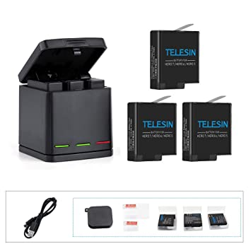 Amazon.com: telesin 2pcs 1220 mAh ahdbt-501 batería + 3 ...