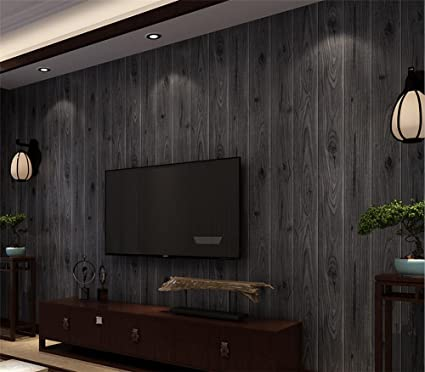 Wallpaper non-woven 3D retro imitation wood board texture ...
