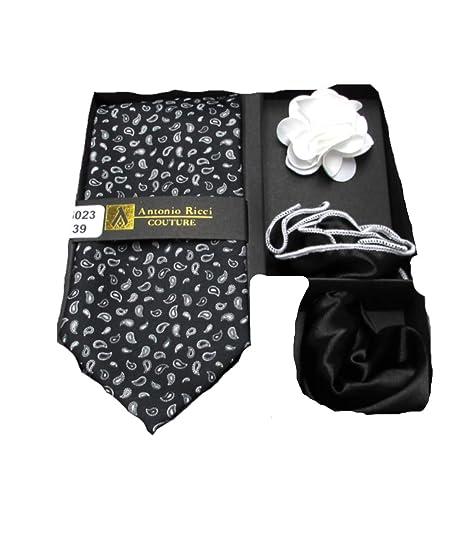 7a1dc472abb2b Men's 4 PC Micro Paisley Tie Necktie, Two Pocket Squares & Flower ...