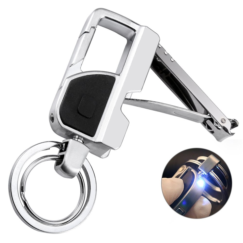 Jobon Keychain Nail Clipper Flashlight with a Bright LED Light and 2 Keyrings for Men, Women, Zinc Alloy, Perfect Gift Ideals