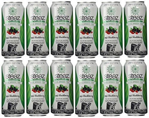 Steaz Zero Calorie Iced Green Tea, Goji Blackberry, 16 Ounce (Pack of 12)