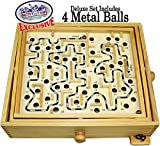 Matty's Toy Stop Deluxe Large Wood Labyrinth Game (60 Hole) with 4 Metal Balls