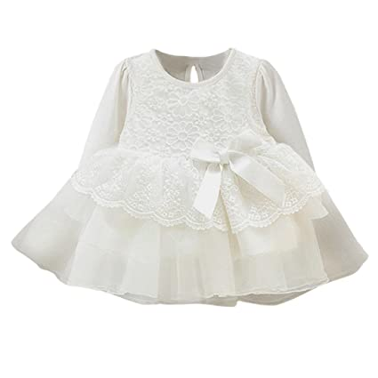 Ropa janly 0 – 1 años blanca bebé de princesa Dress Infant Newborn manga larga de