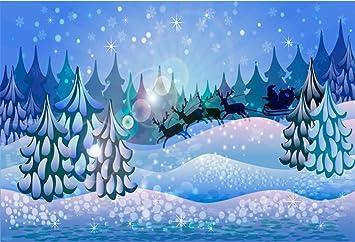 CSFOTO 14x10ft Merry Christmas Backdrop Winter Snowy Night Street Scene Xmas Tree Christmas Eve Background for Photography New Year Decor Banner Christmas Photo Backdrop