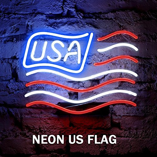 FUYALIN Neon Sign Black Friday & Christmas Gift- US FLAG Home Decor Light bedroom Neon light sign for Wall lights Decor in Bedroom Store Bar Pub Nightclub