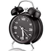 10cm Twin Bell Alarm Clock with Stereoscopic Dial, Backlight, Battery Operated Loud Alarm Clock (Black)