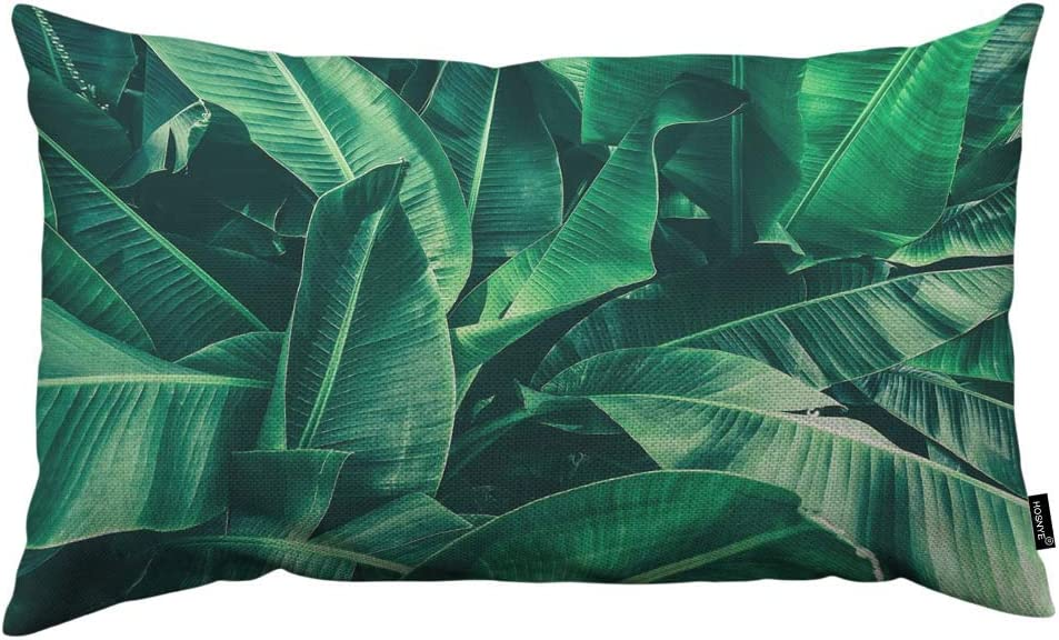 HOSNYE Banana Leaf Throw Pillow Cover Tropical Large Palm Foliage Nature Dark Green Reen Leaves Linen Fabric for Couch Bed Sofa Car Waist Cushion Cover 12 x 20 inch Pillow Case