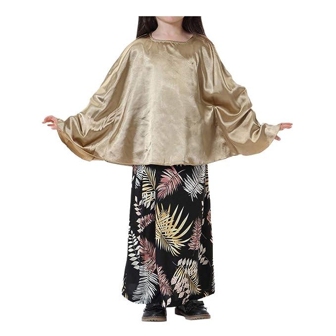 Goyajun musulmán islámico Chicas Tops y Vestido Suit - 2Pcs Niños del sudeste asiático Ropa étnica Camisa Batwing y Abaya Vestido Outfits: Amazon.es: Ropa y ...