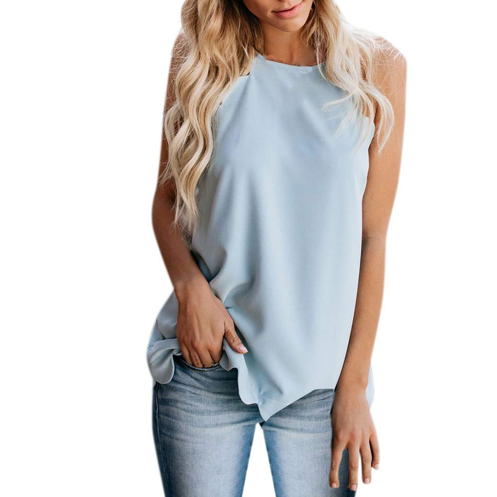 TWGONE Dressy Tank Tops For Women Camisole Plain Strappy Vest Flowy Sleeveless Casual Blouse (Medium,Blue) by TWGONE (Image #1)