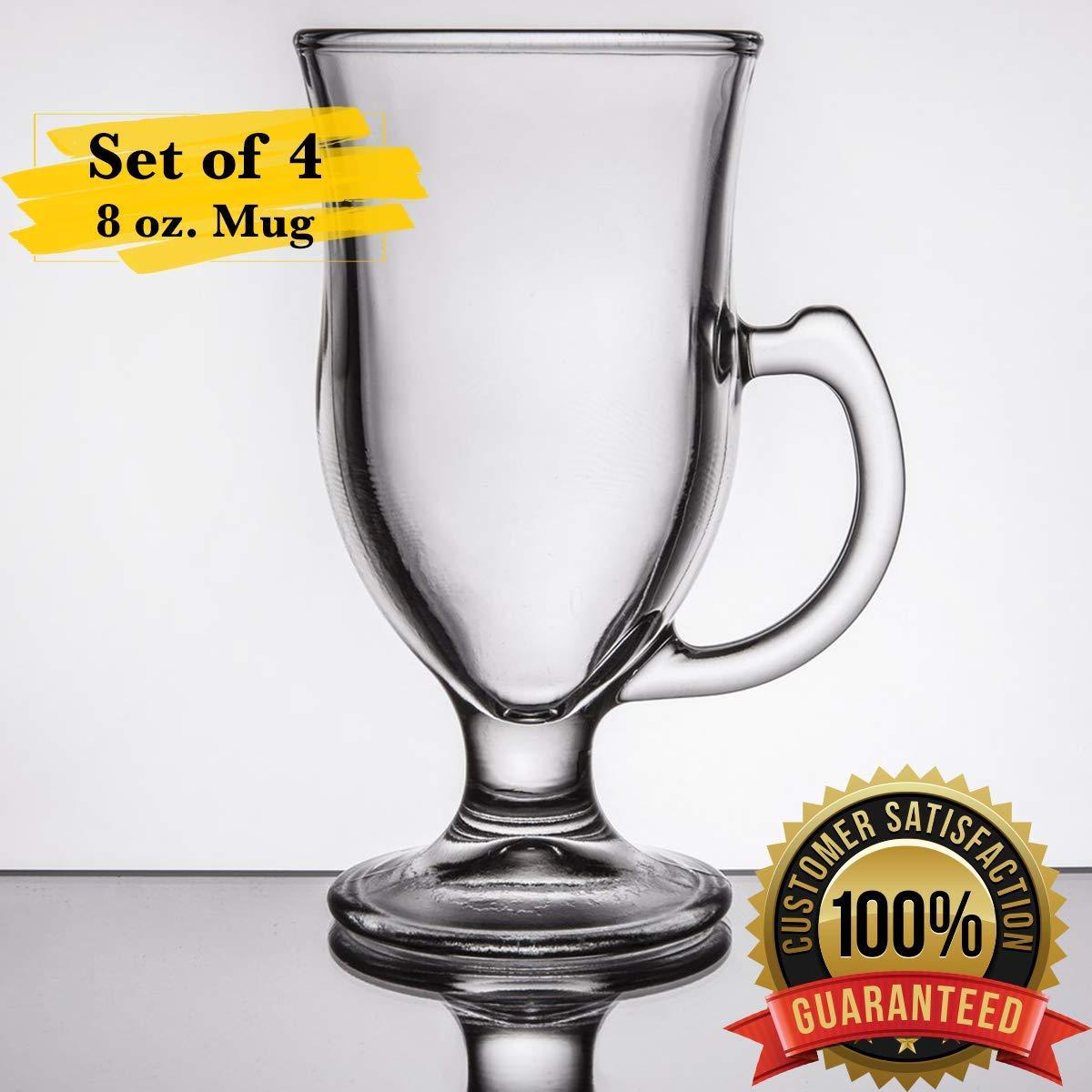 MM Foodservice 8 oz Set of 4 Clear Glass Irish Coffee Mug Irish Coffee Mugs