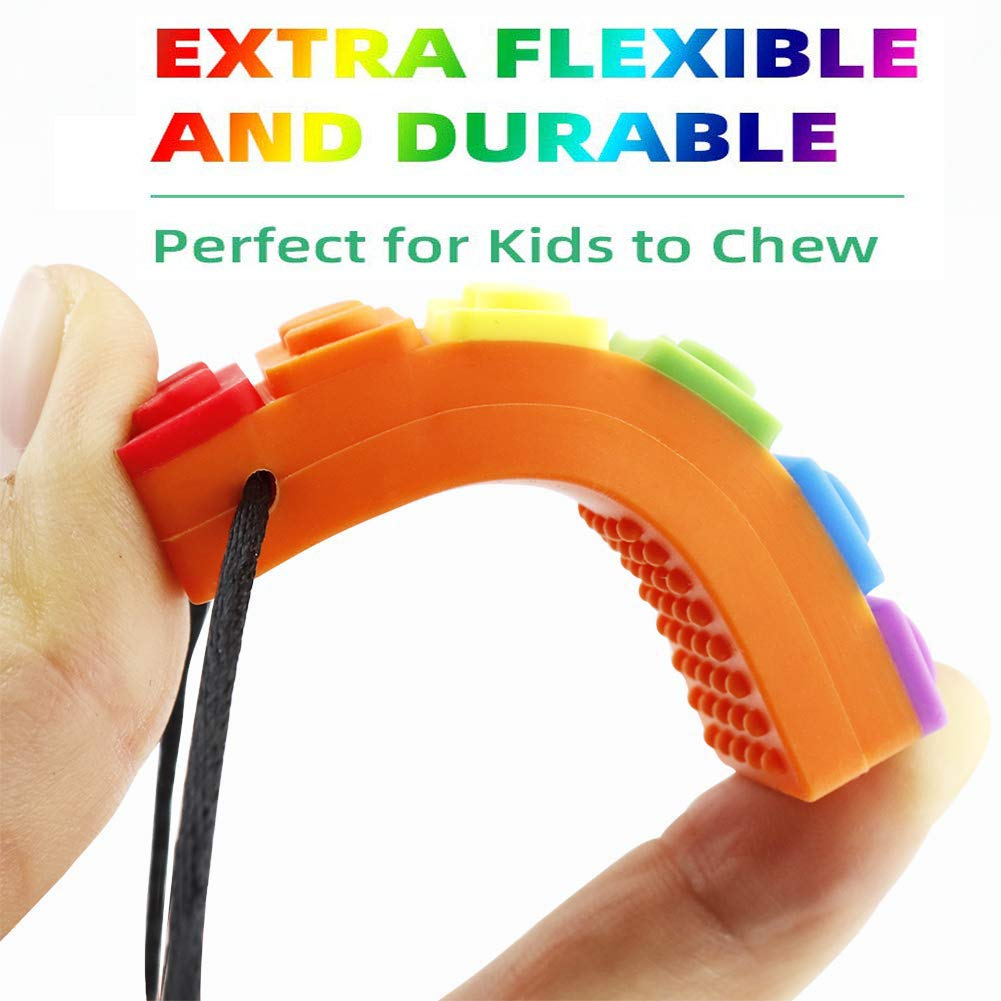 Orange-Green- Blue 3 Pack Sensory Chew Necklace Pendant Chewlery Set for Boys and Girls