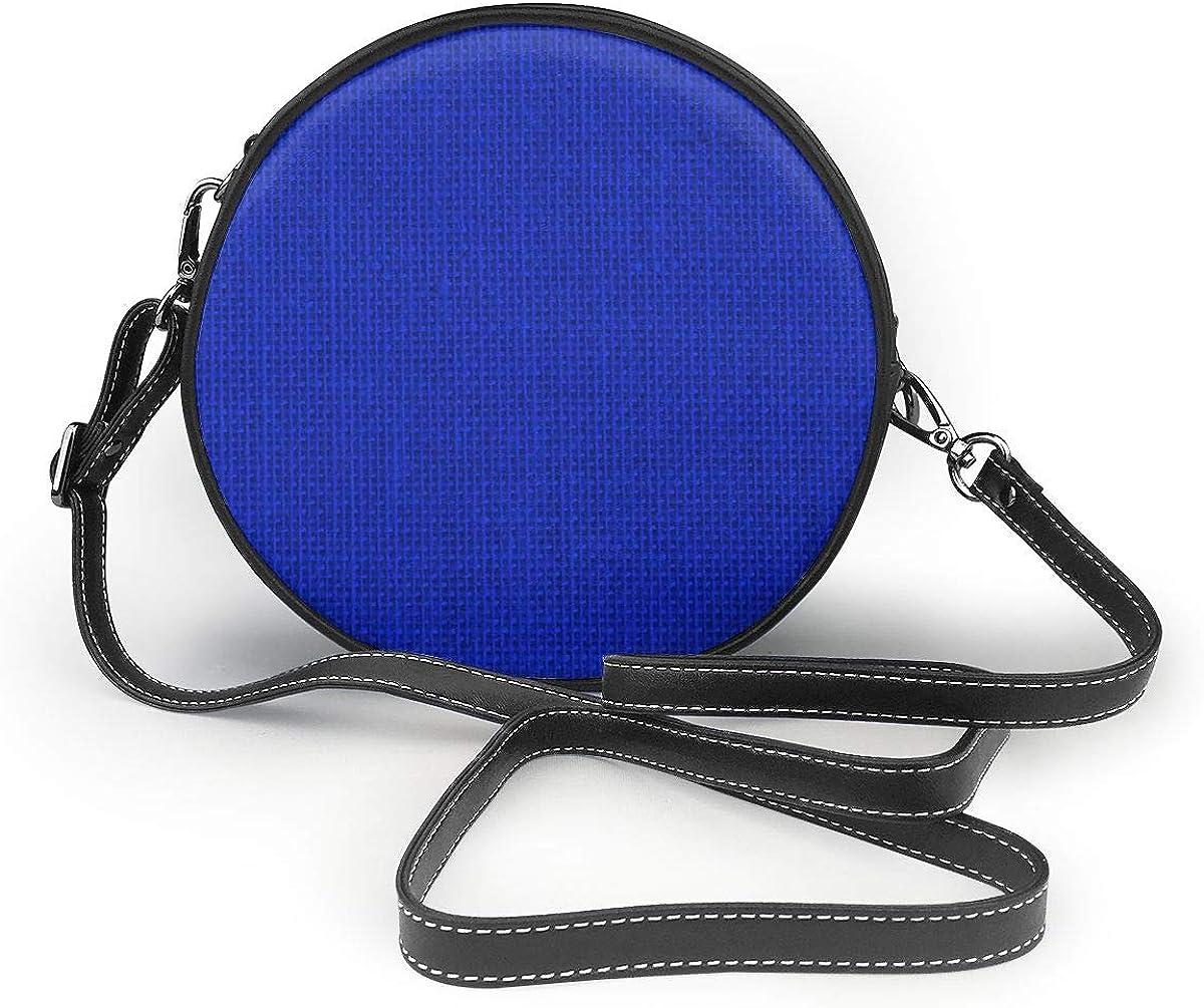 Bolsa de hombro de tela de arpillera tejida natural azul real, bolso de hombro redondo de cuero genuino, estilo vintage, con correa ajustable para el hombro para mujer