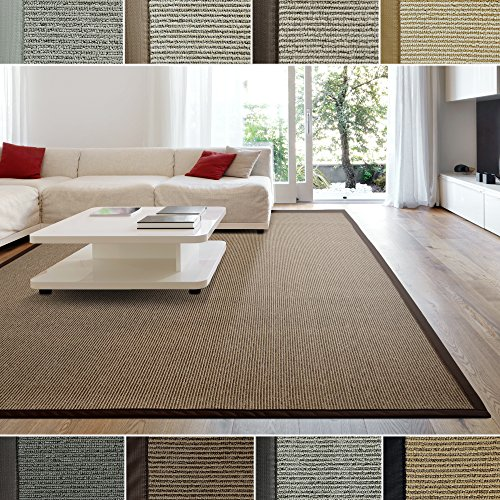 iCustomRug Zara Contemporary Synthetic Sisal Rug, Softer Than Natural Sisal Rug, Stain Resistant & Easy To Clean . Beautiful Border Rug in Chocolate 4 Feet x 6 Feet (4' x 6')