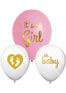 Itu0027s A Girl Gold Baby Shower Balloons Decorations With Heart And Footprints  (Set Of 3