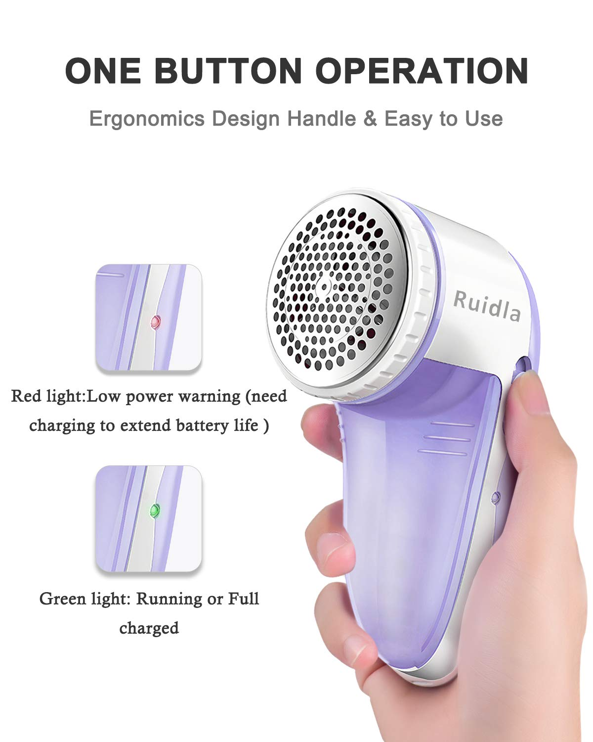 Ruidla Fabric Shaver Defuzzer Electric Lint Remover Rechargeable Sweater Shaver with Replaceable