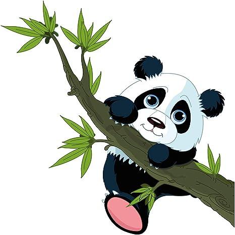 Pegatina de pared cuarto de los niños Oso panda con rama de bambú ...