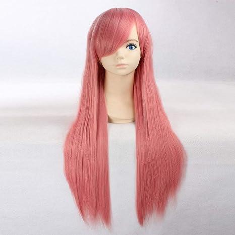HOOLAZA Rosa extra larga peluca recta Pandora Hearts Lottie Glen Baskerville para la fiesta de Halloween