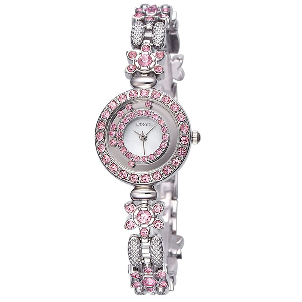AStarsport Women Luxury Elegant Flower Rhinestone Flower Bangle Bracelet Watches Fashion Lady Dress Watch Analog Wristwatch Silver Pink