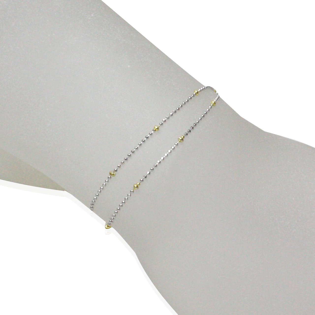 Dahlia Italian Two Tone Fancy Beaded Rhodium Plated Sterling Silver Chain Necklace
