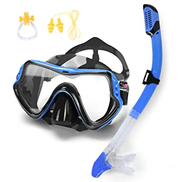 3e4b267a553d Diving Mask and Dry Snorkel Set with Carry Bag Ear Plug Nose Clip - Anti-