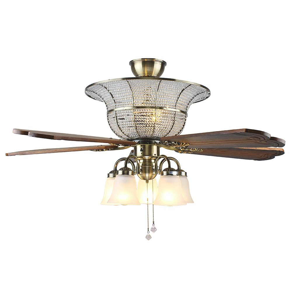 Andersonlight Crystal Luxury Ceiling Fan 52 inches 5 Wood Blades 5 Frosted Glass Shade Reversible Pull Chains Bronze Finish Multi-Speed High / Medium / Low Mute Energy Saving for Indoor Room FS086