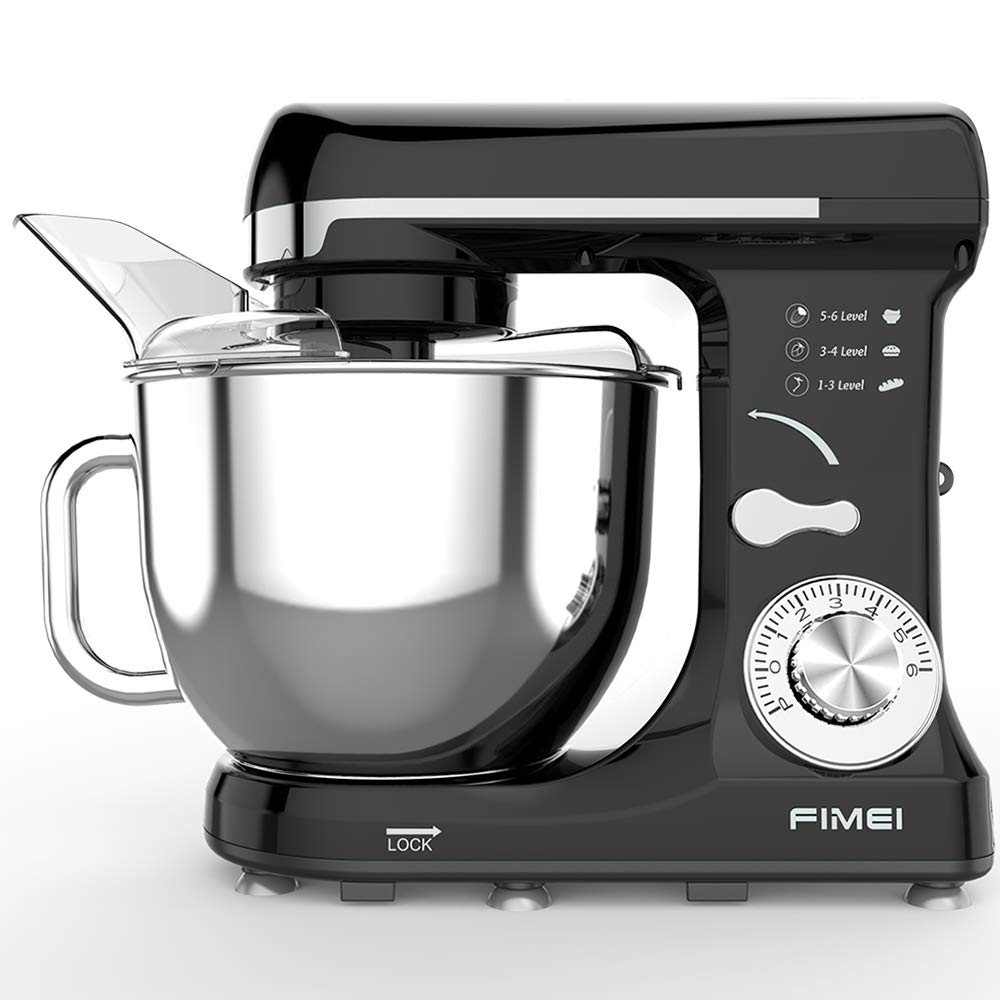 FIMEI Stand Mixer, Dough Mixer 550W, 6 Speeds Dough Maker Dough Blender, 5L Bowl with Anti-Oil Cover, Splash Guard (Dough Hook and Beater with Ceramic Glaze, Whisk), Noise 75 db, Anti-Slip (Black) by FIMEI