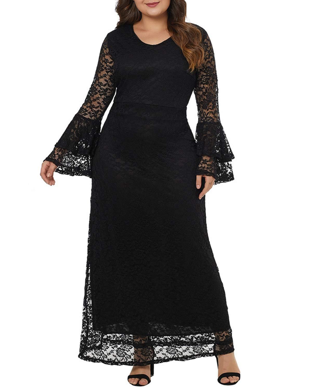 Black ProBikeUS Women's Elegant Long Bell Sleeve ONeck Lace Maxi Party Dress