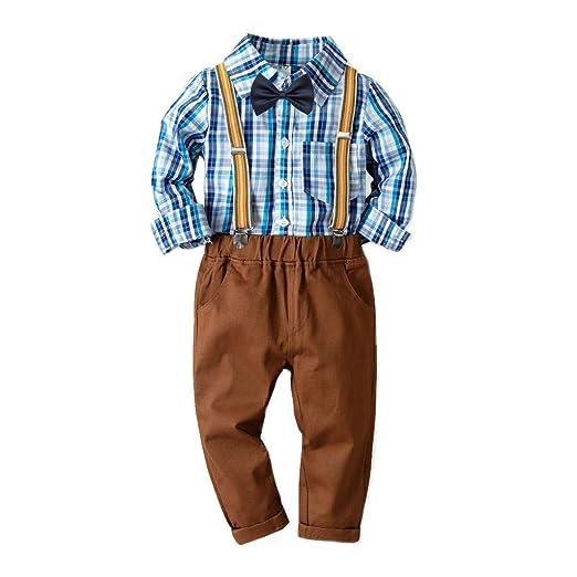 812c3819df92 Amazon.com  Little Gentleman Bowtie Long Sleeves Plaid Shirt+ ...