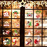 Christmas Wall Stickers Window Decorations Clearance - Holiday Window Sticker Clings - 16 Pack Including Christmas Tree,Santa Claus, Snowman,etc.Plus Some Snowflakes,Festival Suppliers