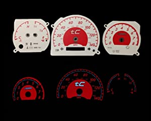 High performance parts White/Red Custom Indiglo Reverse Instrument Cluster Panel Dash Glow Gauges Face Replacement Kit for 05-09 Scion tC (Manual Transmission)