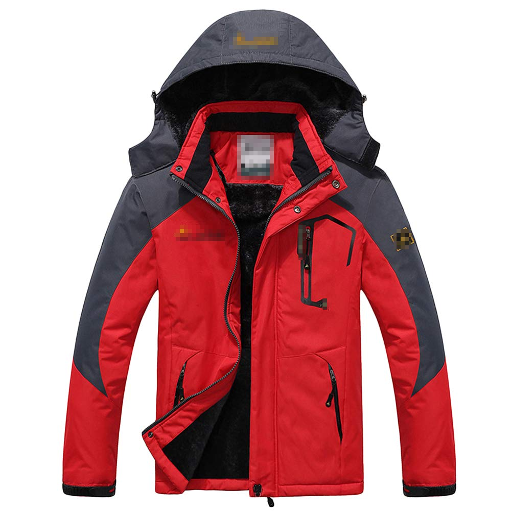 NDHSH Mens Wandern im Freien warme Jacken Fleece wasserdichter Mantel Größe Jacke Winddicht Kapuzenjacken Mountain Ski Climbing Jacket,Red-3XL