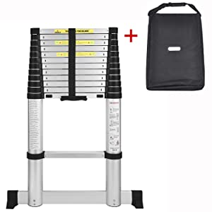 AODI Aluminum Telescoping Ladder with Stabilizer Bar, Telescopic Extension Multi Purpose Ladders Portable EN131 Certified for Industrial Household Daily (12.5 FT and 330 LB)