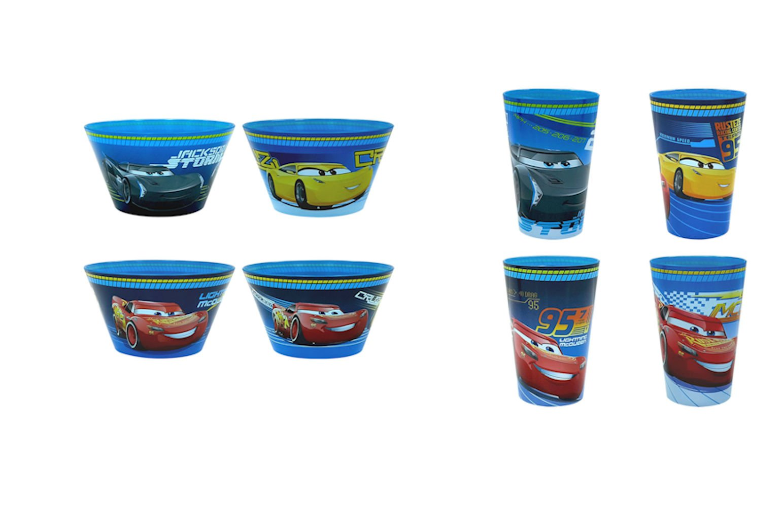 Disney's Cars 3 Lightening McQueen Melamine Snack Set Bowls and Cups
