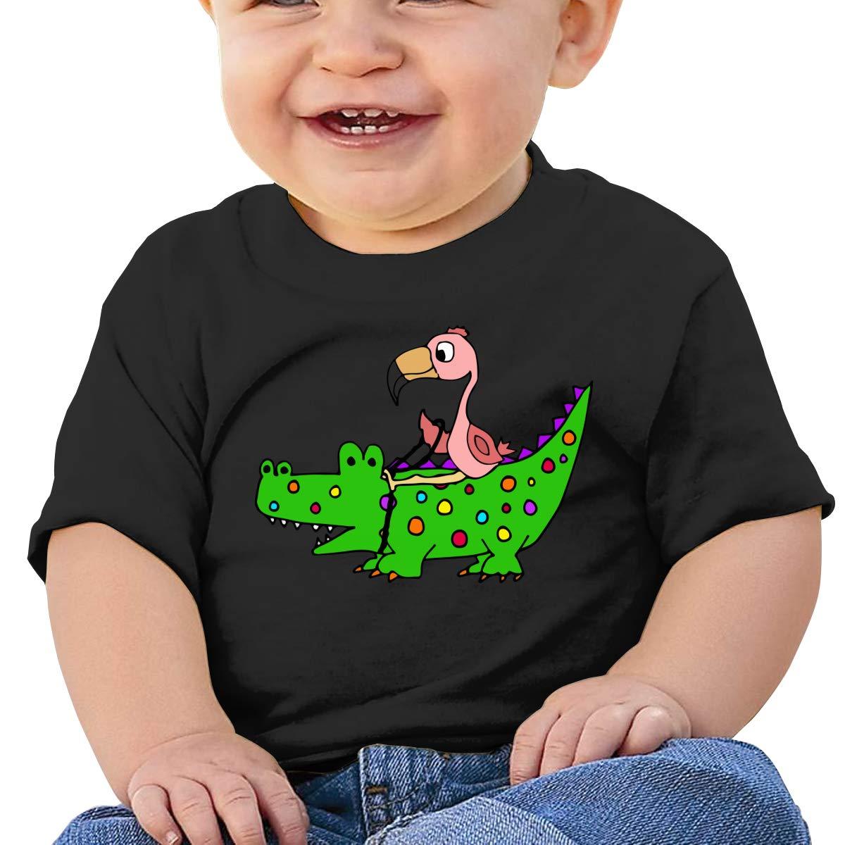 ZUGFGF-S3 Pink Flamingo Riding Alligator Baby Girls Newborn Short Sleeve T-Shirt 6-24 Month Cotton Tops