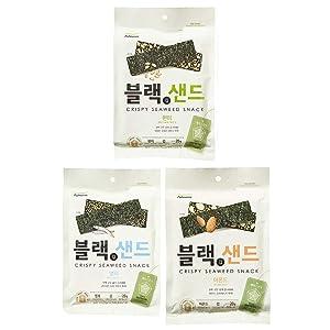 [Pulmuone] Roasted Seaweed (Nori) Snack 3 flavor sets (brown rice, anchovy, almond) / Korean food / Korean Seaweed / Seaweed Snacks (overseas direct shipment)