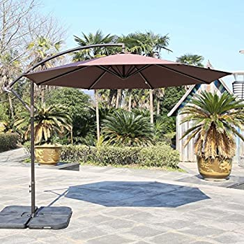 Sumbel Outdoor Living 10 Ft Aluminum Offset Patio Umbrella, 8 Steel Ribs,  Coffee