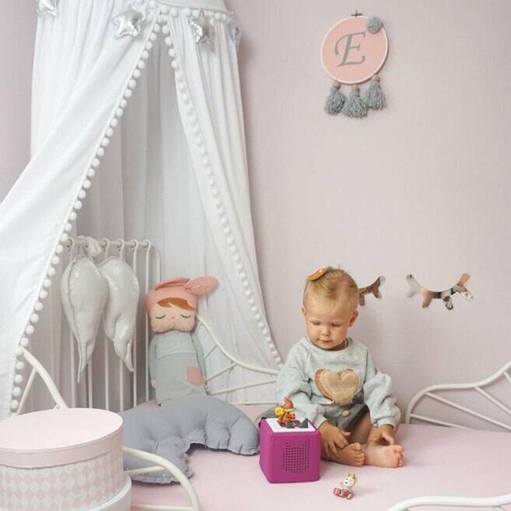 SWECOMZE Baby Baldachin Betthimmel mit kleinen Bommeln H/ängende Moskiton Dekor f/ür Schlafzimmer H/öhe 2,45m